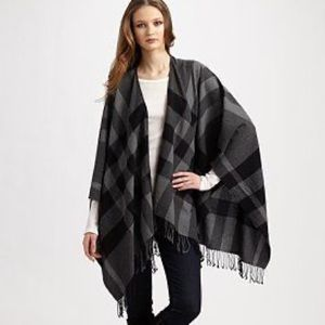 Burberry Collette Fine Wool Cape - Poncho Check Plaid Pattern with Fringe Scarf